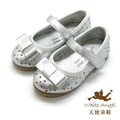 天使童鞋-F5051 夏日桐花洞洞鞋 (小童)-典雅銀