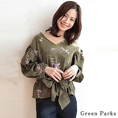 Green Parks V領刺繡綁帶上衣