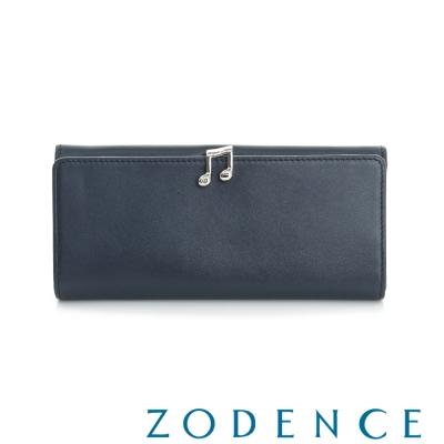 ZODENCE 西班牙牛皮系列完美和弦音符設計長夾 藍