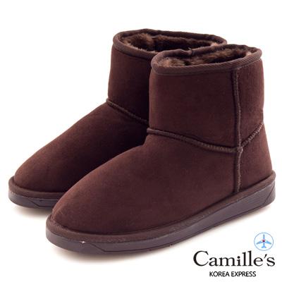 Camille's 韓國空運-正韓製-麂絨素面短筒雪靴-咖啡