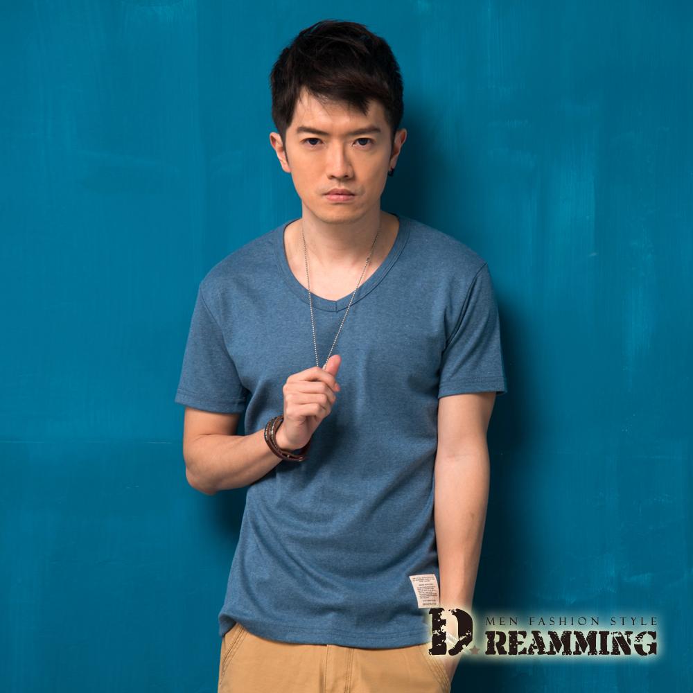 Dreamming 簡約素面布標修身V領短T-藍綠