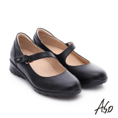 A.S.O 挺麗氣墊鞋 全真皮魔鬼氈奈米休閒鞋 黑