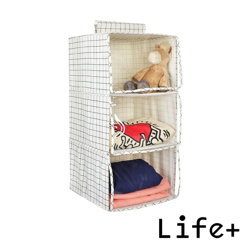 Life Plus 日雜棉麻吊掛式多層收納袋/置物袋 (大款3層)