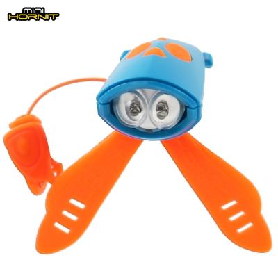 英國MINI HORNIT蜜蜂燈鈴鐺-自行車/滑板車嬰兒推車用LED車前燈+電子喇叭-藍橘