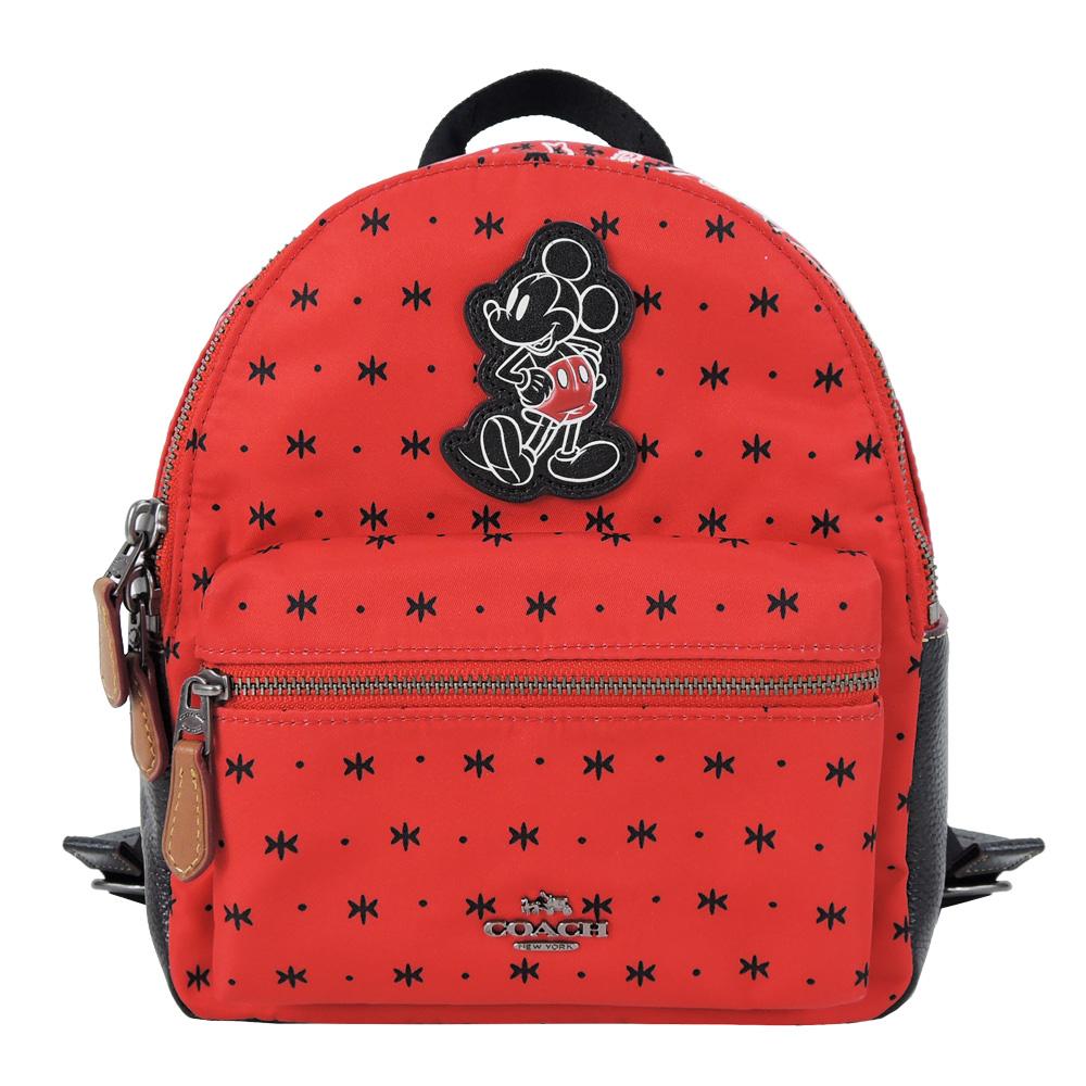 COACHxDISNEY 聯名款徽章拼貼圖騰尼龍後背包(小/紅)COACH