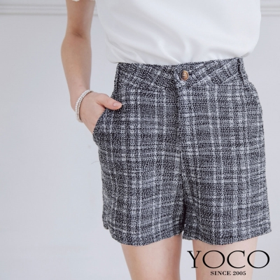 東京著衣-yoco 混織格紋口袋短褲-S.M.L(共二色)