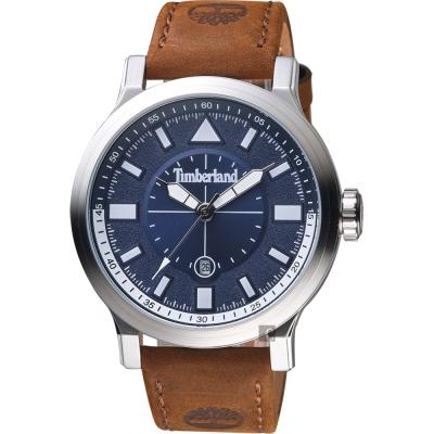 Timberland天柏嵐 探險家時尚手錶-藍灰x咖啡/ 46 mm