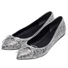 GUCCI 銀色亮片蝴蝶結牛皮飾邊尖頭平底娃娃鞋(銀-37.5)