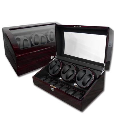 機械錶自動上鍊收藏盒 3旋6入錶座轉動+7入收藏 鋼琴烤漆 - 木紋紅褐色