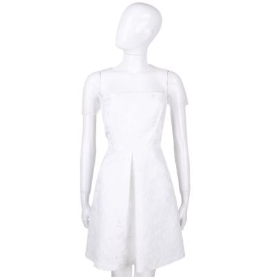 BLUGIRL 白色網紗拼接繡花短袖洋裝