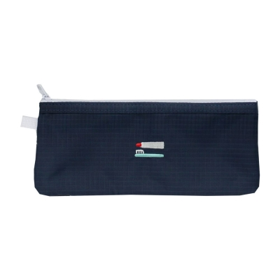 2NUL 刺繡尼龍網格盥洗袋-深灰藍