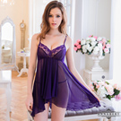 大尺碼 深紫柔紗短版不規則二件式睡衣L-2L Annabery