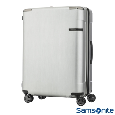 Samsonite新秀麗28吋 Evoa 拉絲光澤防盜拉鍊抗震輪TSA硬殼行李箱(銀)