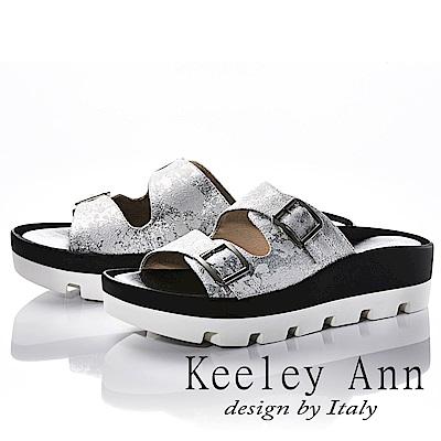 Keeley Ann 美式嬉皮~個性暈染真皮軟墊厚底拖鞋(白色)