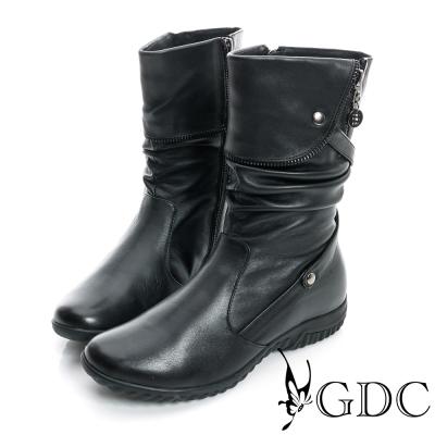 GDC個性-抓皺造型反摺拉鍊真皮中筒靴-黑色