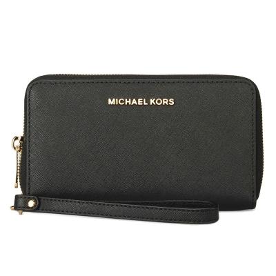 MICHAEL KORS Jet Set 金LOGO防刮皮革多卡手機包中夾-黑色