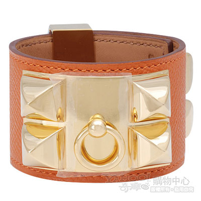 HERMES collier de chien金屬鉚釘山羊皮寬版手環(S-橘X金-P年)
