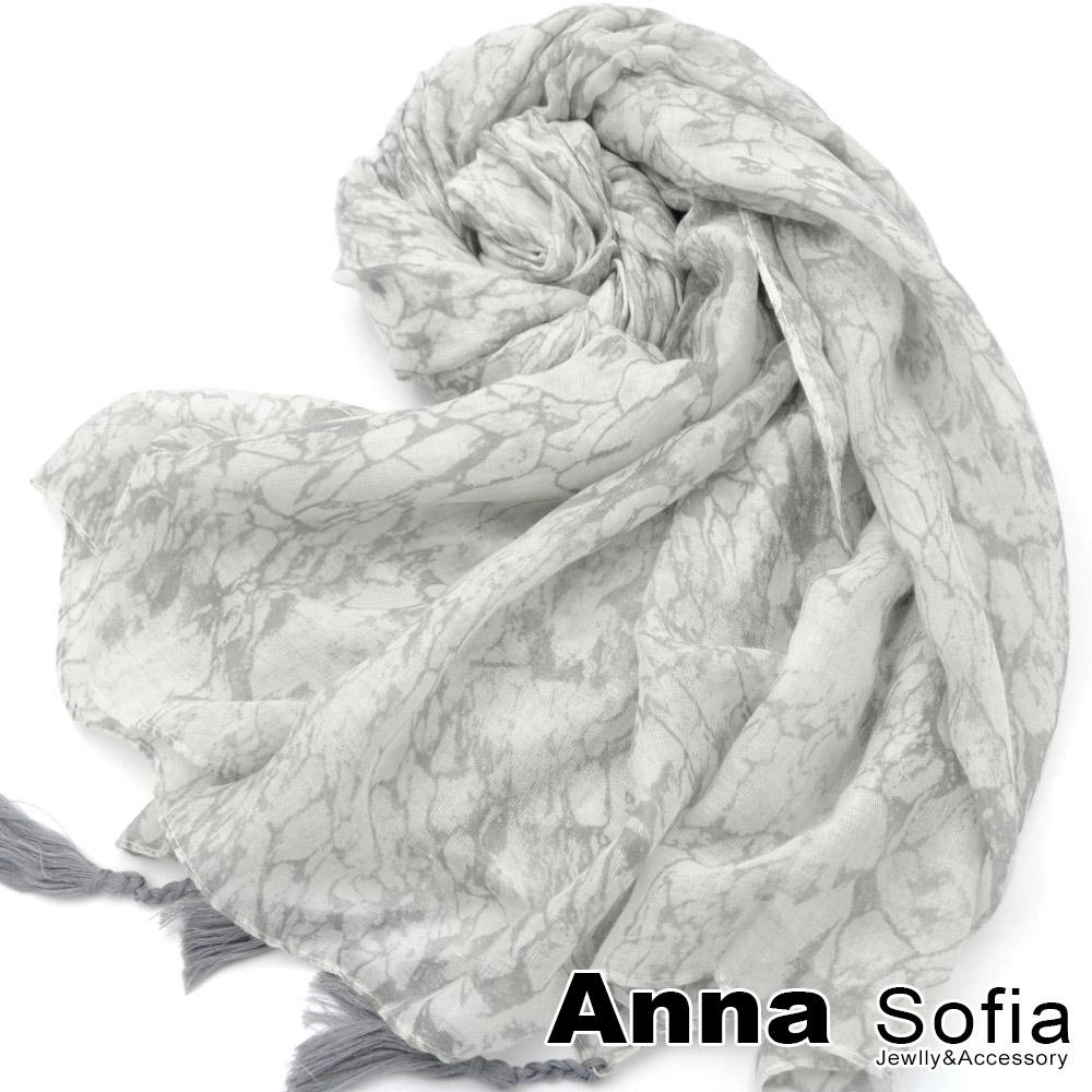 【滿額再75折】AnnaSofia 優雅大理石紋 流蘇墬大尺寸披肩圍巾