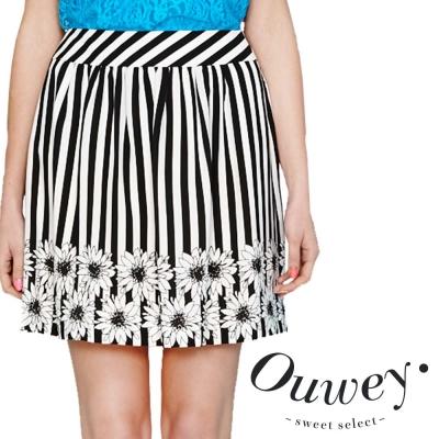 OUWEY歐薇-愛麗絲向日葵花朵線條及膝裙