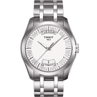TISSOT Couturier 建構師系列簡約大三針機械日期腕錶-銀/39mm