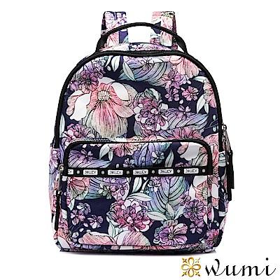 WuMi 無米 輕旅行系列mini後背包-彩繪繁花 藍