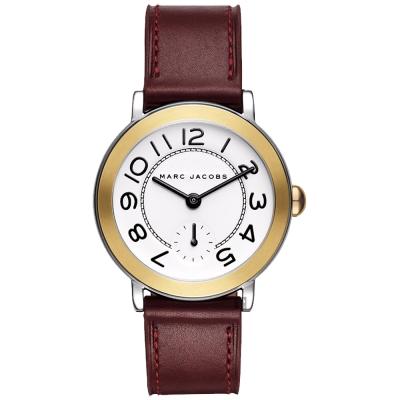 Marc Jacobs Riley 城市小秒針手錶-金框x酒紅色/36mm