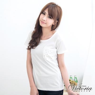 Victoria 星星貼袋T恤-女-白