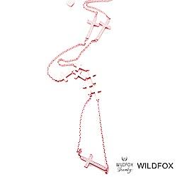 Wildfox Couture 美國品牌 鑲粉紅鑽 十字架 多層次 玫瑰金 長項鍊
