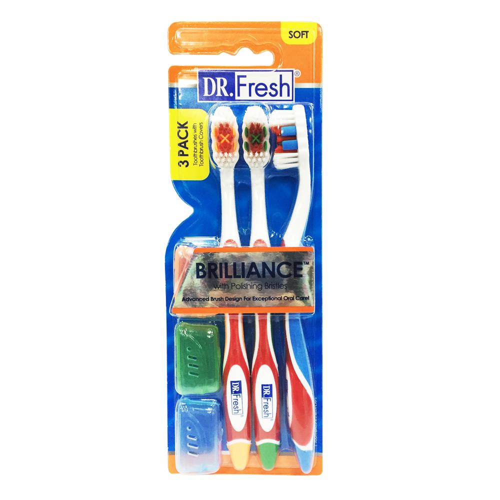 美國Dr. Fresh 亮白牙刷3入(附牙刷套)