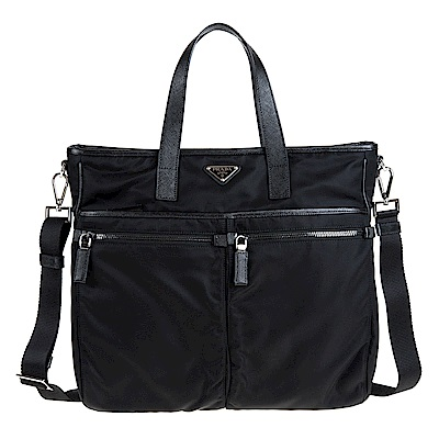 PRADA TESSUTO+SAFFI NERO尼龍帆布直立式雙口袋購物肩揹包 (黑色)