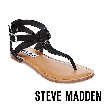 STEVE MADDEN-HIDDEN 鉚釘踝帶夾腳涼鞋-黑色