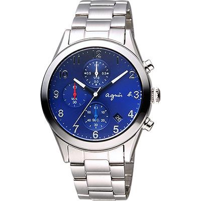 agnes b. 巴黎城市風尚計時腕錶(BM3008X1)-藍x銀/40mm