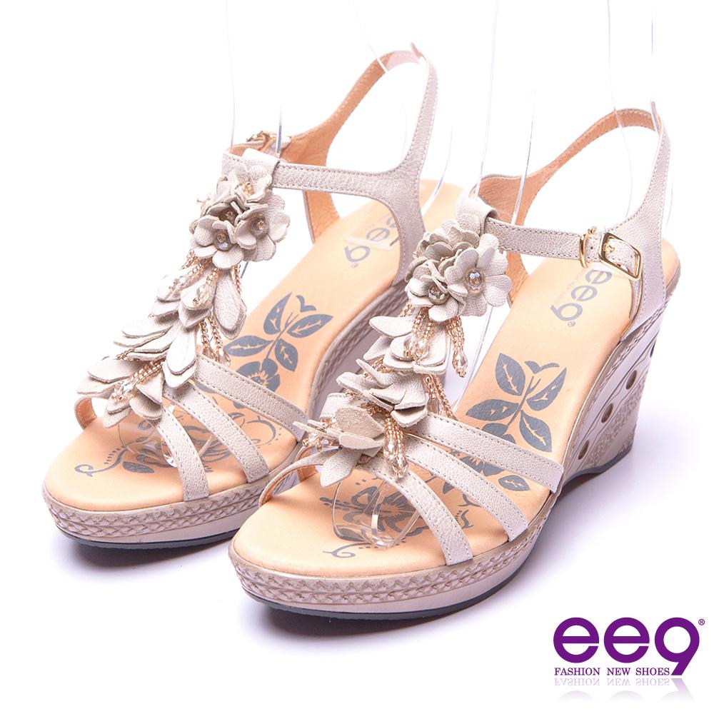 【ee9】矚目焦點-精緻鏤空鑽飾花朵造型防水台楔型涼鞋*米色