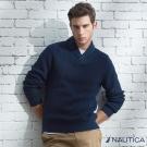 Nautica 簡約素面螺紋造型長袖針織衫-藍