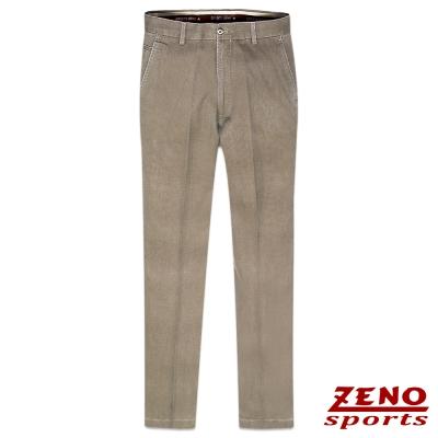 ZENO 純棉直紋舒適無摺休閒褲‧褐色31~42