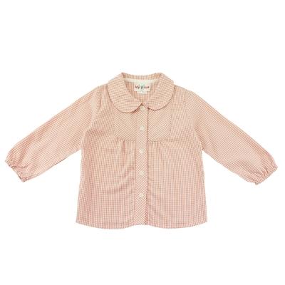 愛的世界-MYBEAR-純棉娃娃領細格紋襯衫-2歲-台灣製
