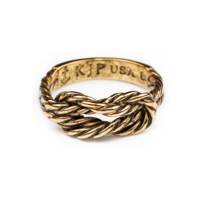 Kiel James Patrick 美國手工船錨 水手繩結金色戒指