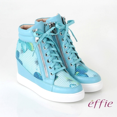 effie 心機美型 牛皮網布花紋內增高休閒鞋 藍色
