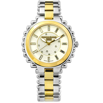 CHRISTIAN BERNARD 伯納錶 真鑽棕櫚樹不鏽鋼手錶-米白x鍍金/38mm