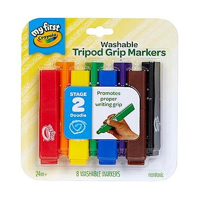 美國 Crayola繪兒樂 幼兒可水洗三角筆桿彩色筆8色(24M+)
