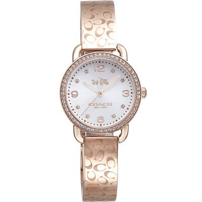 COACH Delancey 摩登耀眼晶鑽手環式腕錶-玫瑰金/28mm