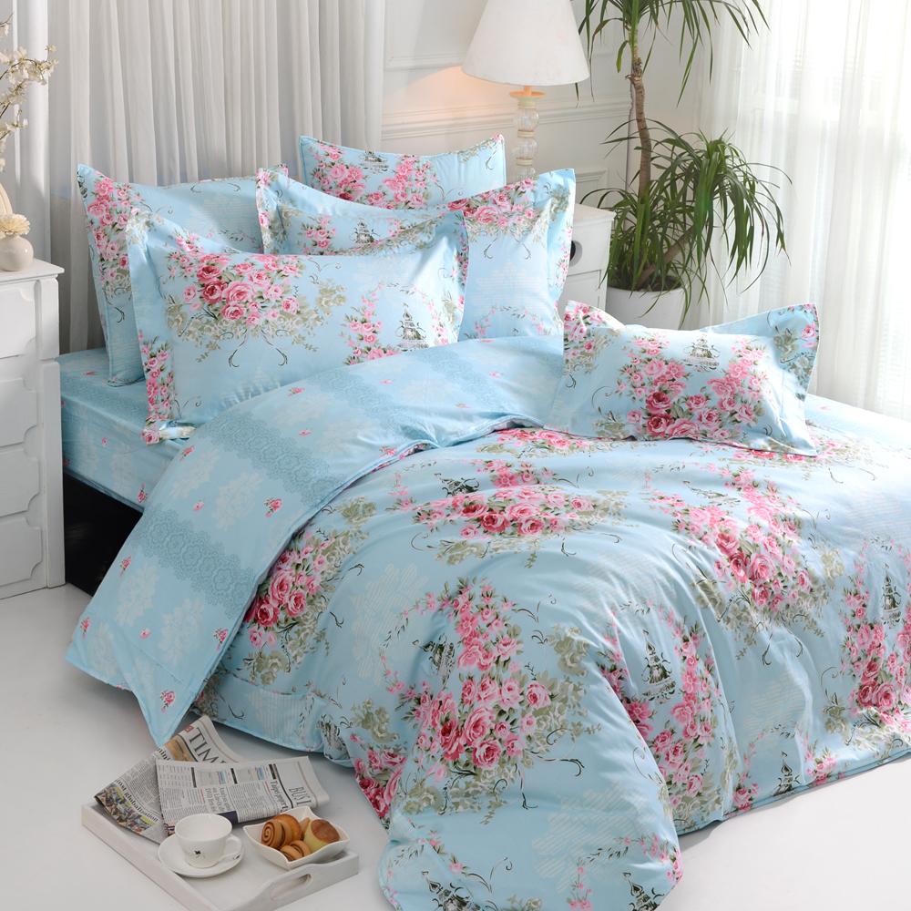 義大利La Belle 薔薇戀曲-藍 雙人四件式防蹣抗菌舖棉兩用被床包組