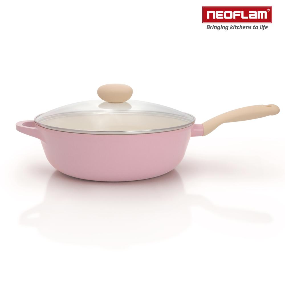 韓國NEOFLAM Retro粉紅公主鍋系列陶瓷不沾炒鍋30cm+玻璃鍋蓋