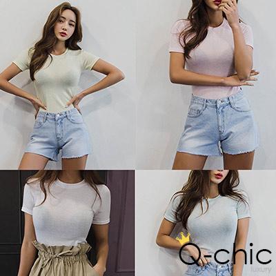正韓 透膚粉嫩色彈性短袖T恤 (共六色)-Q-chic