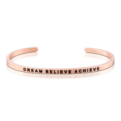 MANTRABAND Dream Believe Achieve 美國悄悄話玫瑰金手環