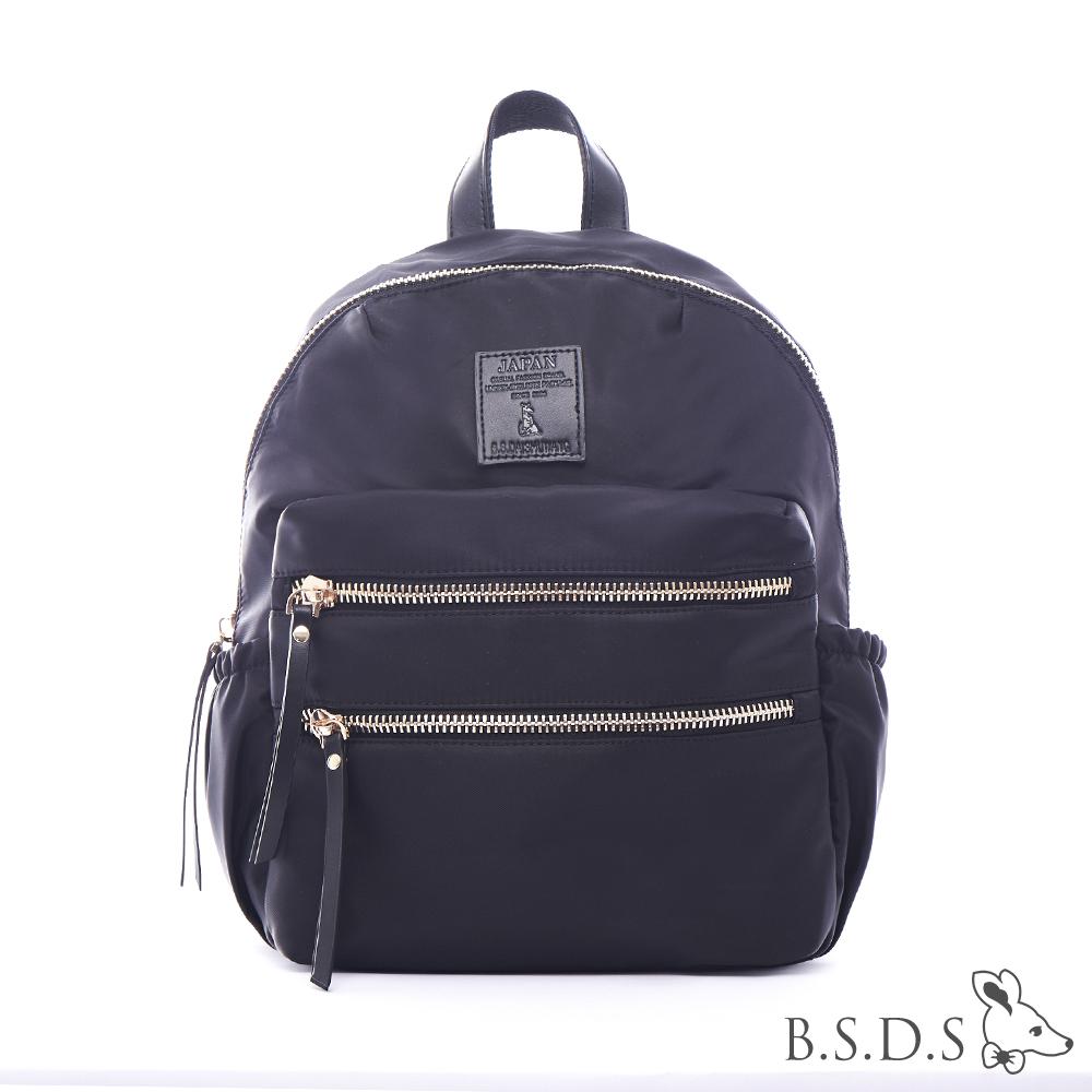B.S.D.S冰山袋鼠-日系帆布x歐美簡約抗皺布拉鍊後背包-閃耀黑