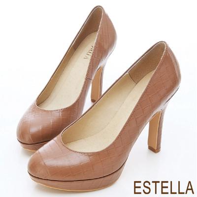 ESTELLA-巴黎時尚-MIT牛皮鱷魚紋厚底高跟鞋-咖