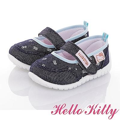 HelloKitty 牛仔系列 輕量抗菌防臭室內外娃娃童鞋-藍