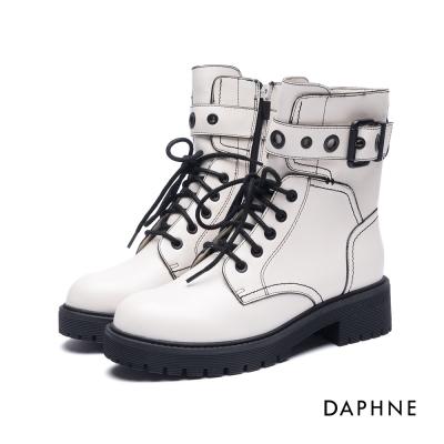 達芙妮DAPHNE 短靴-金屬皮帶釦厚底粗跟綁帶軍靴-米白