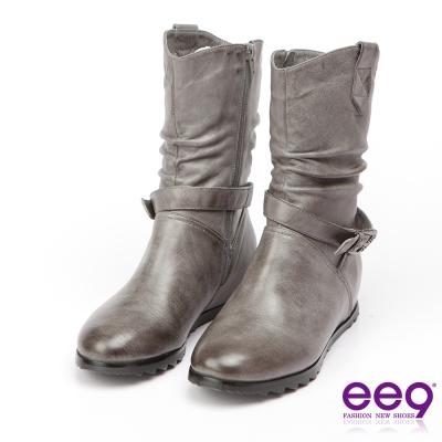 ee9 經典手工~2WAY都會優雅金屬扣環繫帶百搭內增高中筒靴-灰色